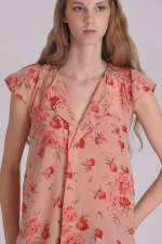 Rebecca Taylor pink flower short sleeve blouse at Pink Mascara