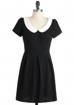 Black dress with white peter pan collar at Modcloth