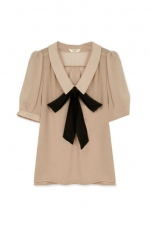 Cream top with black bow at Romwe