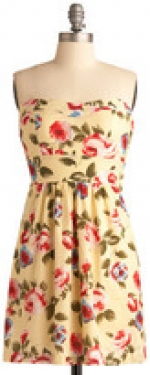 Yellow floral print strapless dress at Modcloth
