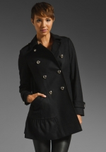 Black ruffle coat like Bernadettes at Revolve