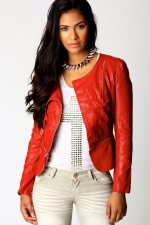 Red biker jacket at Boohoo