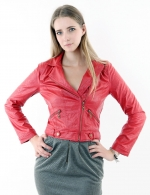 Red faux leather jacket at Amazon