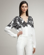 Peter Som bamboo print blouse at Neiman Marcus