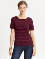 Red and navy striped top at Banana Republic