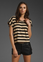 Cream and black striped top like Janes at Revolve