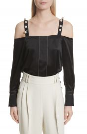 3 1 Phillip Lim Faux Pearl Strap Silk Cold Shoulder Top at Nordstrom