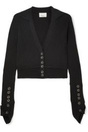 3.1 PHILLIP LIM - RIBBED WOOL-BLEND CARDIGAN - BLACK at Net A Porter