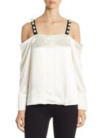 3 1 Phillip Lim - Pearl-Strap Satin Cold-Shoulder Top at Saks Fifth Avenue