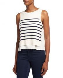 3 1 Phillip Lim Sailor Striped Tank W  Silk Underlay  White Blue at Neiman Marcus