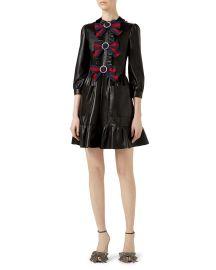3/4-Sleeve Bow-Trim Leather Dress at Bergdorf Goodman