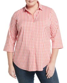 3/4-Sleeve Button-Front Gingham Top at Last Call