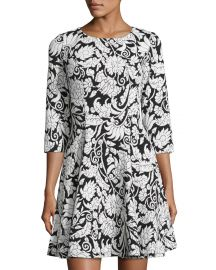 3 4 Sleeve Fit-and-Flare Dress by Eliza J at Last Call