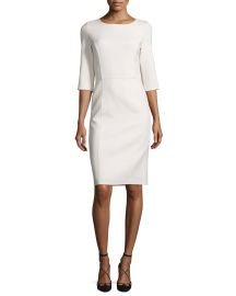 3 4-Sleeve Round-Neck Sheath Dress at Neiman Marcus