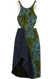 31 Phillip Lim  Cutout pinstriped linen-paneled jacquard dress at Net A Porter