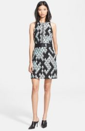 31 Phillip Lim Front Zip Jacquard Dress with Leather Belt at Nordstrom