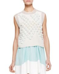 31 Phillip Lim Sleeveless Dandelion Crop Top Ivory at Neiman Marcus