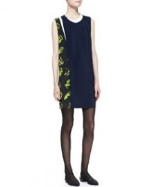 31 Phillip Lim Sleeveless Print-Paneled Shift Dress at Neiman Marcus