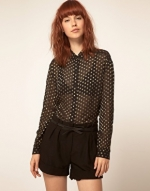 Longsleeve polka dot blouse like Zoes at Asos