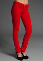 Red skinny jeans like Zoes at Revolve
