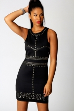 Black studded dress at Boohoo