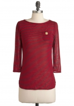 Red and navy striped top at Modcloth