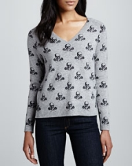 360Sweater V-Neck Skull Sweater at Neiman Marcus