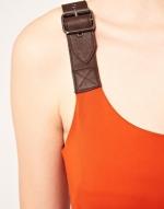 Orange buckle strap dress at Asos