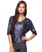 Navy blue sequin top at Forever 21