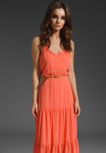 Spencer's coral maxi dress at Revolve