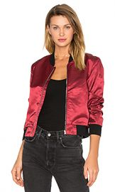 3x1 Satin Bomber Jacket in Garnet Red from Revolve com at Revolve