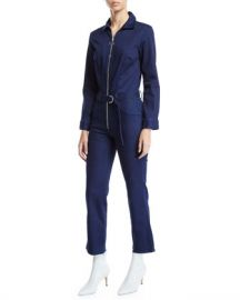 3x1 Valen Zip-Front Belted Denim Jumpsuit at Neiman Marcus