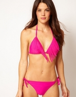 Pink fringe bikini like on PLL at Asos