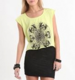 Aria's yellow shirt with roses on it at Pacsun