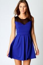 Blue dress with mesh cutout at Boohoo