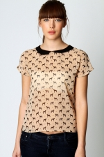 Dog print top with peter pan collar at Boohoo
