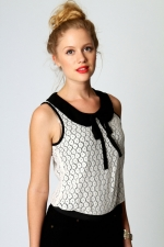 Peter pan collar top with tie at Boohoo