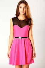 Textured pink dress with black mesh at Boohoo