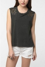 Aria's black studded top at Urban Outfitters