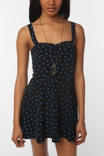 Aria's polka dot romper at Urban Outfitters