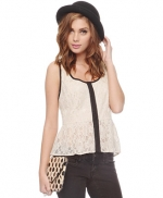 Lace top with contrast trim at Forever 21