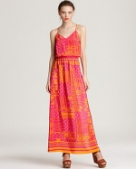 Cece's orange and pink maxi dress at Bloomingdales