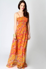 Orange maxi dress at Boohoo