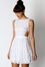White open back dress like Arias at Boohoo