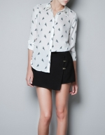 Spencer's parrot print shirt with studded collar at Zara