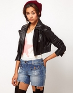 Cropped leather jacket like Hannas at Asos