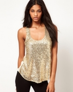 Gold glittery tank top like Arias at Asos