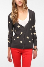 Grey star print cardigan at Urban Outfitters