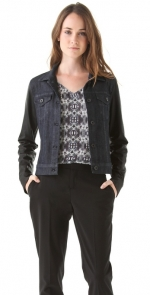 Aria's leather sleeve jacket at Shopbop
