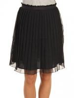 Black pleated skirt at 6pm
